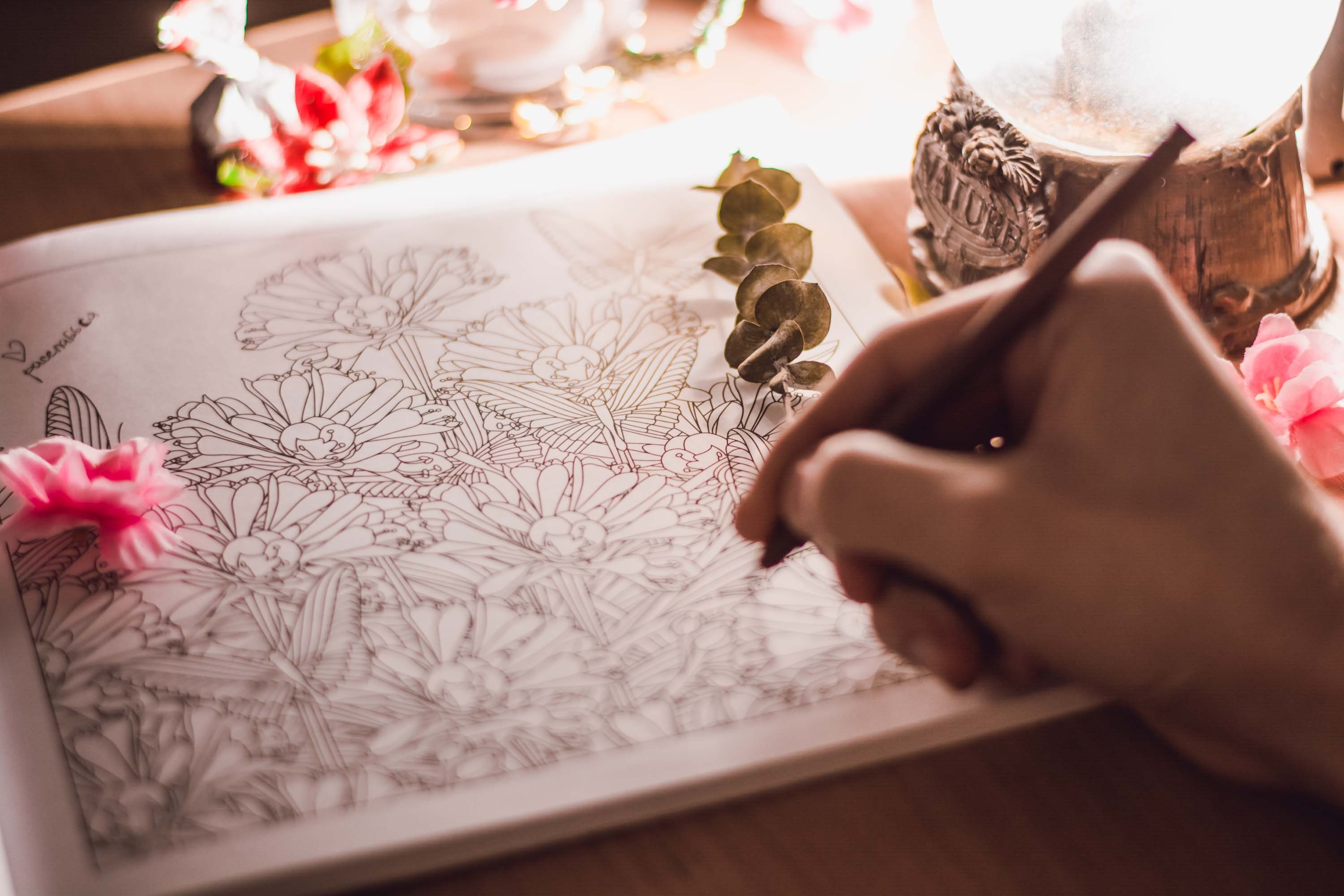 adult colouring a colouring book
