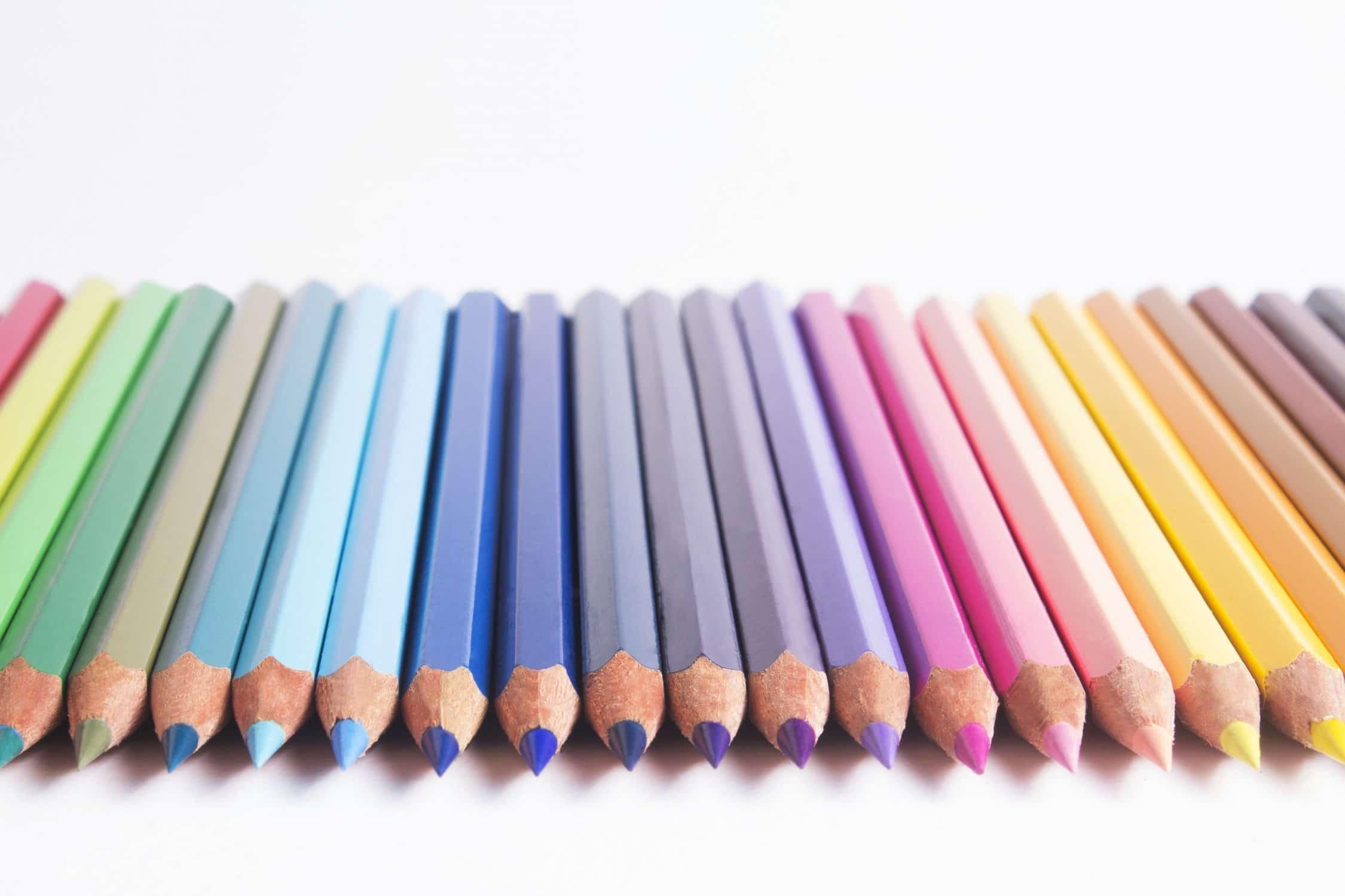 Row of pencil crayons