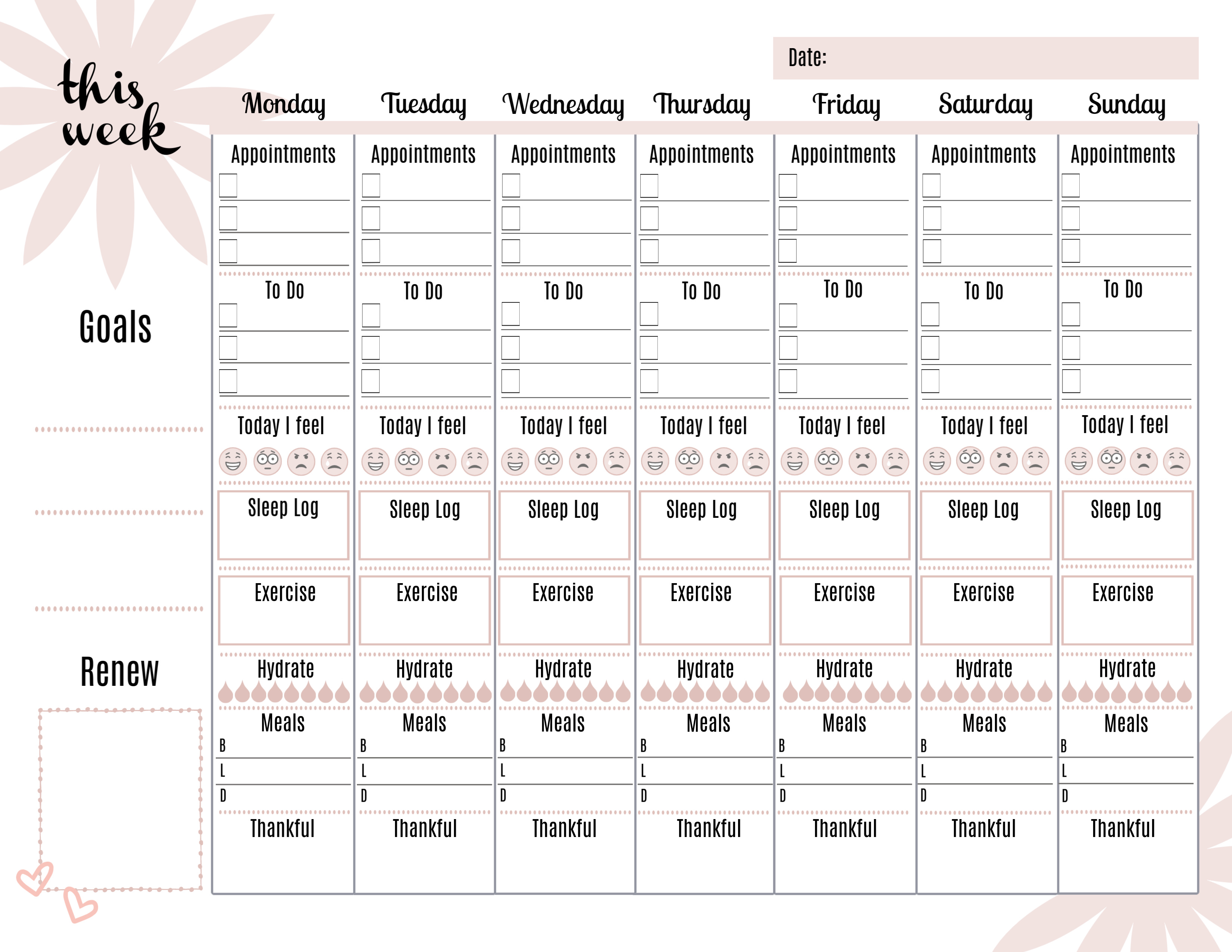 Health and Wellness Weekly Planner