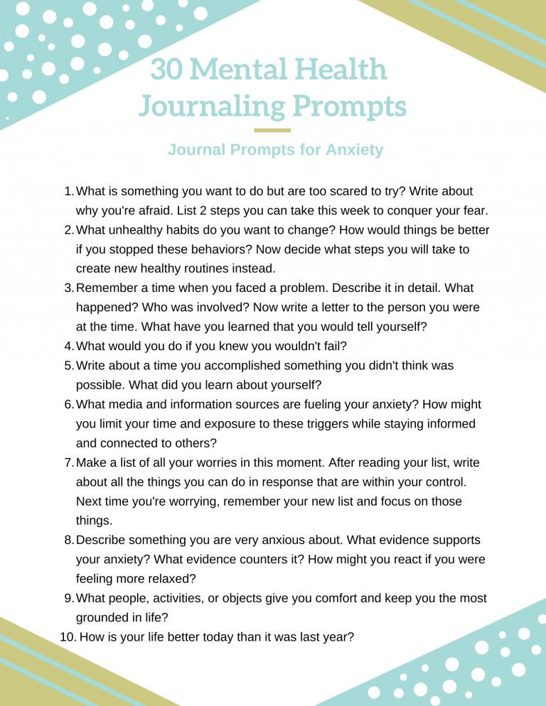 mental health journaling prompts