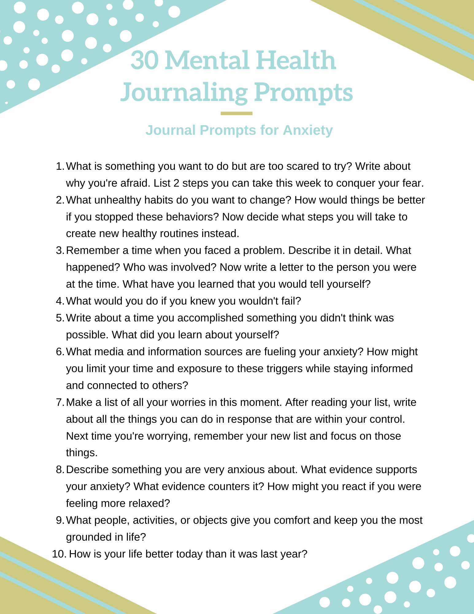 mental health journaling prompts
